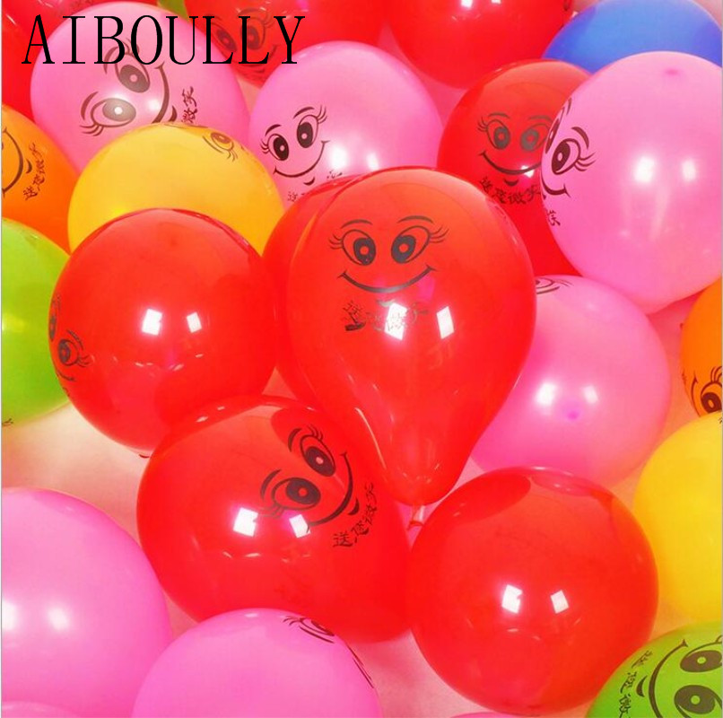 50pcs 10inch 1.5g mix color face smiley latex balloons child party birthday balloons expression helium ballon inflatable toys