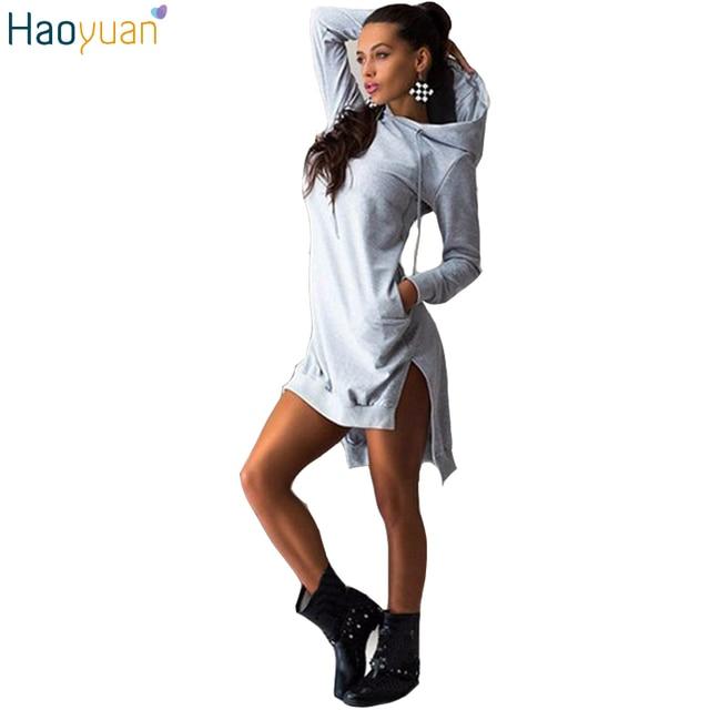 HAOYUAN Autumn Fashion Casual Hoodie Dress Irregular Hooded Pocket Split Long Sleeve Sweatshirt Women Loose Tracksuit Hoddies