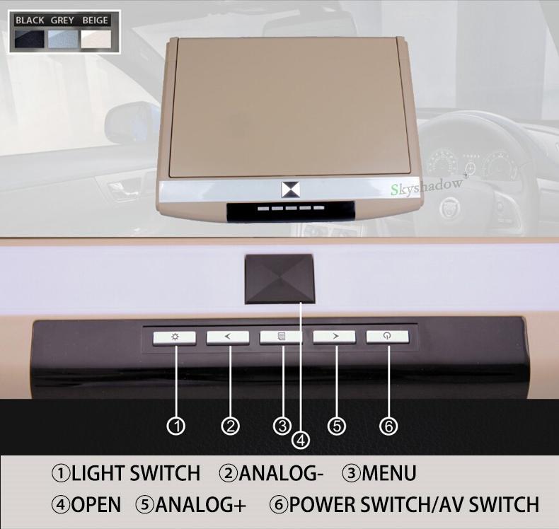 "Perfect Stylish 17.3"" / 15.6"" Color TFT LCD Display 12V~24V Roof Mount Car Monitor Flip Down Car Monitor Player HD 1080P HDMI USB SD FM 4"