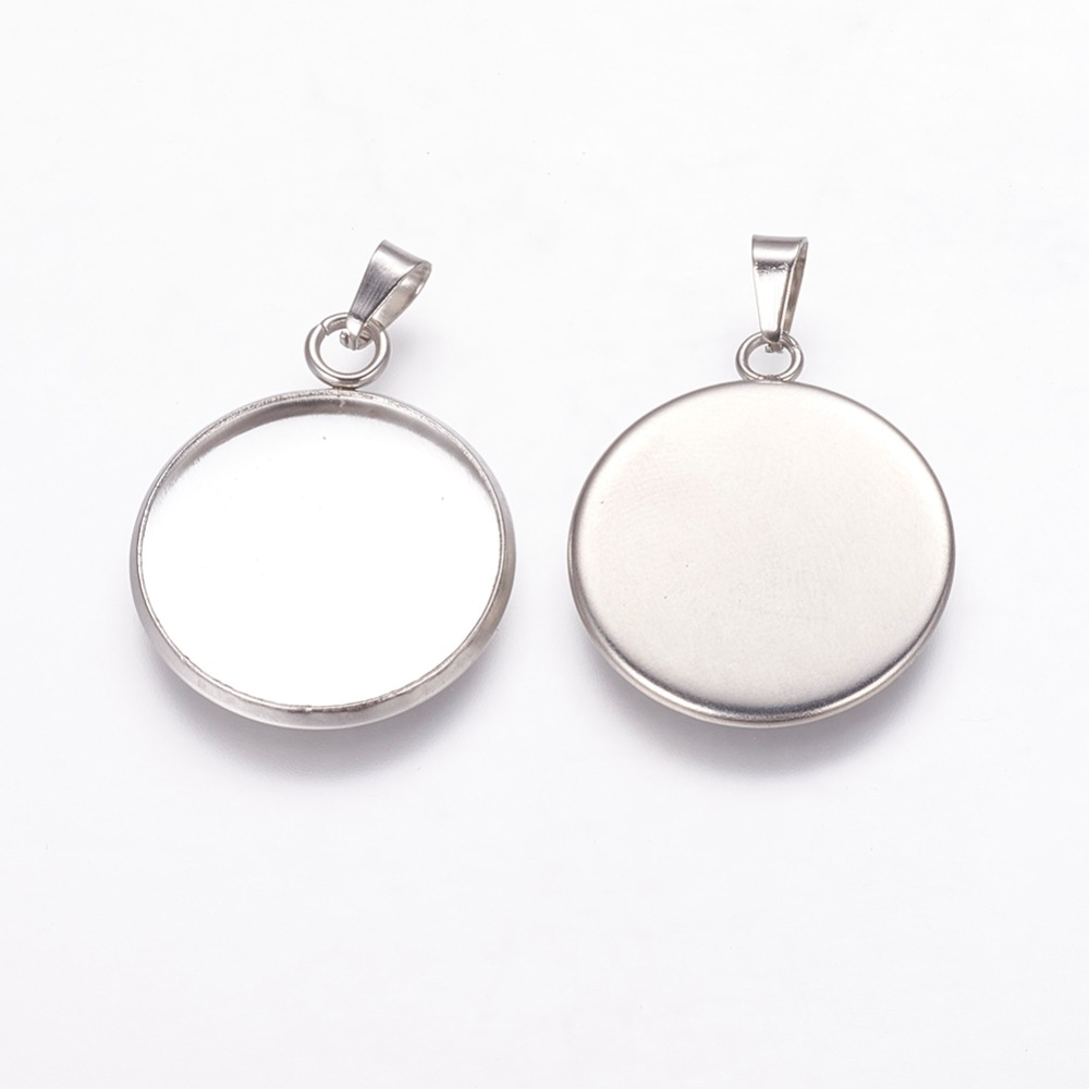 Stainless Steel Flat Round Pendant Women Cabochon For Diy Vintage Jewelry Making Necklace For Ladies Gifts High Quality Beads & Jewelry Making