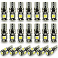 20pcs white auto wedge T10 smd canbus 5smd 5 smd T10 LED canbus car led T10 canbus w5w 194 error free automotive light bulb lamp