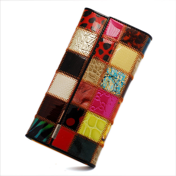 купить Patchwork Cowhide Women Wallets Genuine Leather Wallet Woman Brand Coin Purse Zipper Ladies Leather Wallets Long Credit Cards недорого