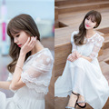 Sexy white summer bohemian beach maxi women dress lace vestidos plus size long Bump stitching Embroidery Hollow jacquard Dress