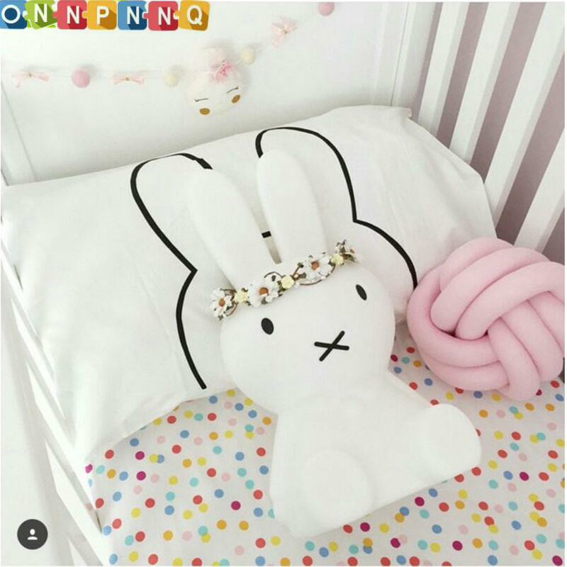45X70CM Cotton Black and White <font><b>Pillow</b></font> Case Baby Bedding Cute Rabbit Pattern <font><b>Pillow</b></font> Covers Kids Nursery Room Decor No Insert