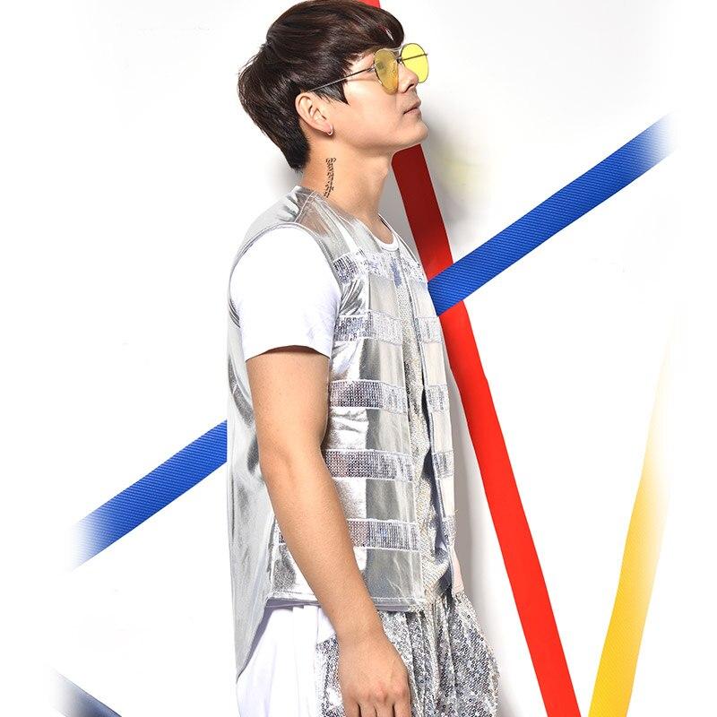 (Vest + T shirt calças ++) prata de lantejoulas 3 peça define masculino cantor bar boate jazz rock trajes terno chumbo show de dança calças Haren - 3