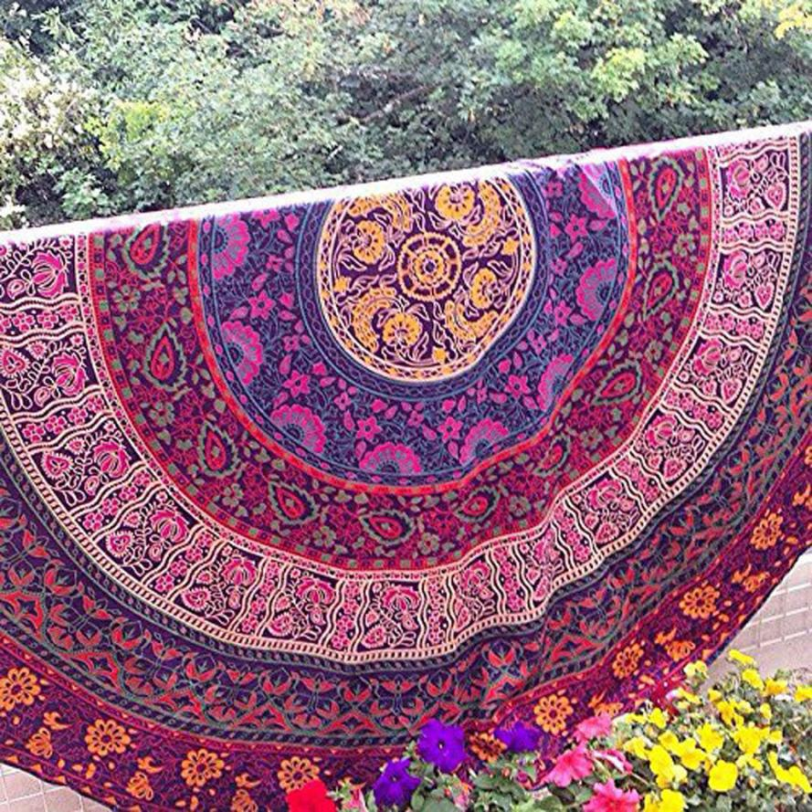 Round Beach Pool Home Shower Towel Blanket Table Cloth Diameter 150cm Yoga Mat Dec 7