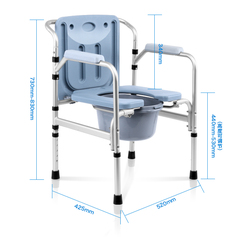 High quality Support 200kg Folding Portable Mobile toilet chairs Bath chair Potty chair Elderly Seat Commode Chair