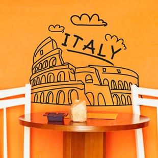 Free shipping LolitaVinyl Wall Sticker Italy Mural Art Wall Decal Building Design Coffee Shop Pub Bar Decor Decoration