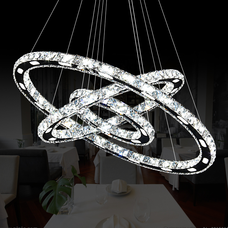 Modern Chrome Chandelier Crystals Diamond Ring Led Lamp: Modern Chrome Crystal Diamond Chandelier Stainless Steel