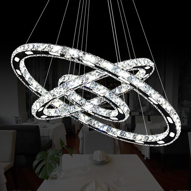 Schon Moderne Chrom Kristall Diamant Kronleuchter Edelstahl Ring Led Lampe  Hängenden Leuchten Einstellbar Led Kristall Kronleuchter