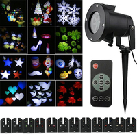 12 Pattern Waterproof Laser Projector Lamps Christmas Halloween Party LED Stage Light Outdoor Landscape Lawn Garden
