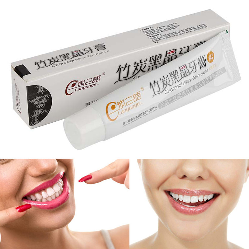 1Pc 50g Bamboo Charcoal Whiten Improve Gingival Bleeding Soreness Antibacterial Antimoth Lemon Flavor Toothpaste /Toothbrush image