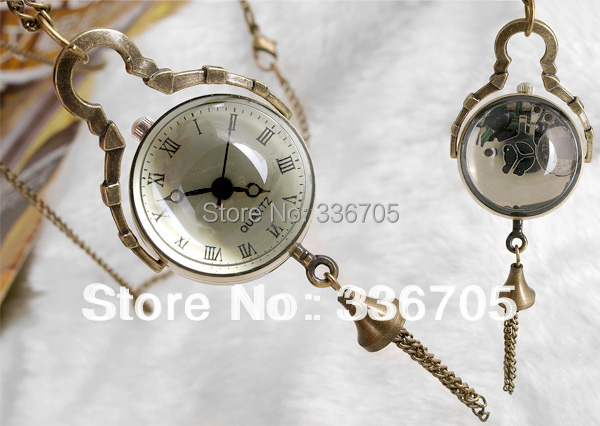 Min.Order 5pcs  Antique Bronze Necklace Pendant Ball Clock Watch  HOT Sale!