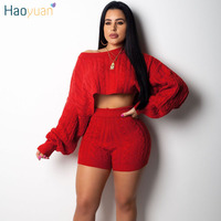 HAOYUAN 2 Two Piece Set Women Clothes Autumn Winter Outfits Long Sleeve Knit Sweater Tops+Bodycon Shorts Suit Sexy Matching Sets