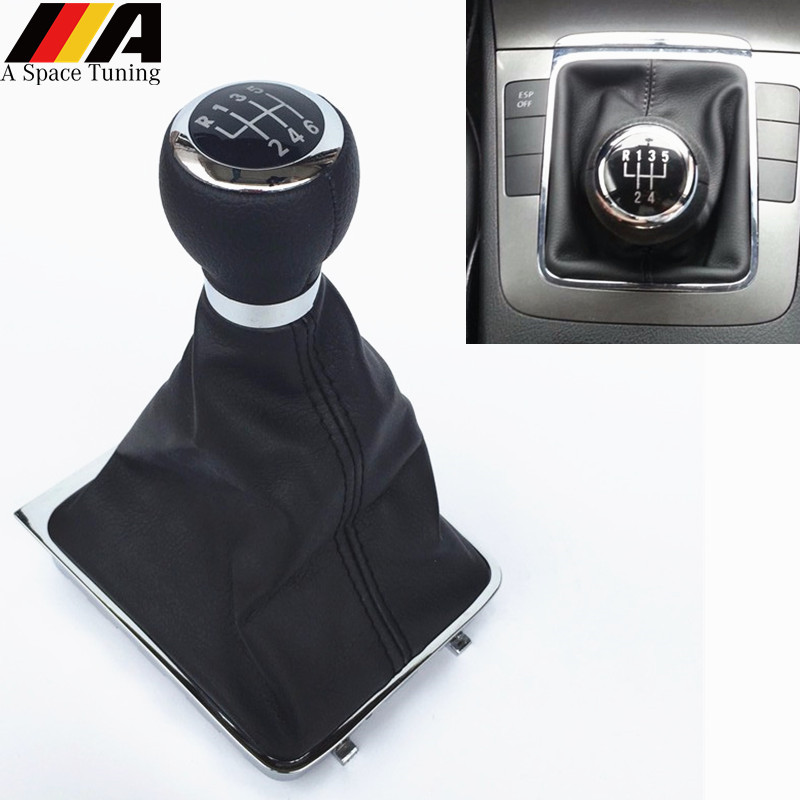 5/6 Speed M Gear Shift Knob Lever Stick Gaiter Boot Cover Collar For Volkswagen VW Passat B6 2005 2011 Car Styling Accessories|Gear Shift Knob| |  - title=