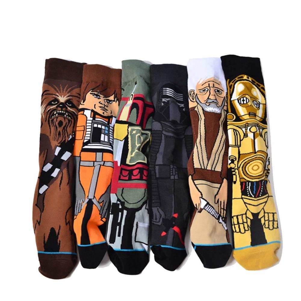 6 pairs/lot Funny Cotton Socks Men Women Crew Star Wars The Last Jedi Fashion Long Happy Sock Male Warm Cartoon Print Flag Socks