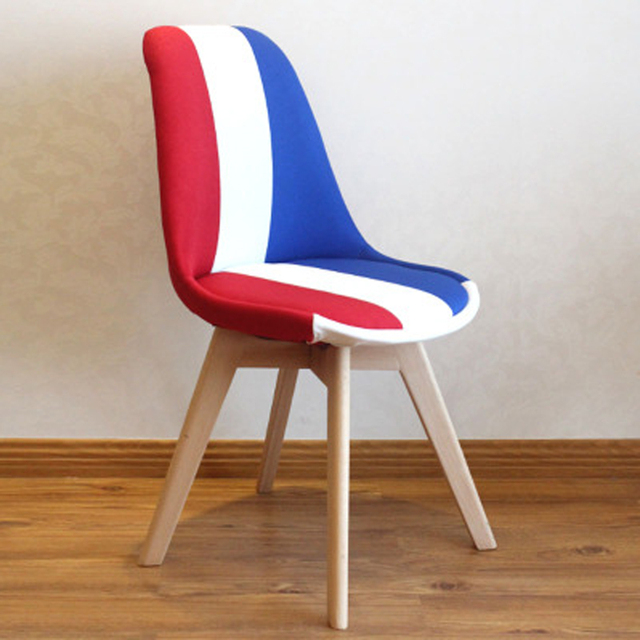 Comfortable France Flag Fabric Leisure Chairs Beech Wood Legs Dining Chair