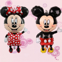 100pcs Large 114cm Giant Mickey Minnie Balloons Big Red Bowknot Standing Mouse Airwalker Balloon Kids Birthday