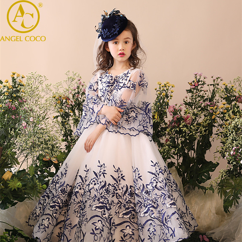 Children's Performance Evening Dress Blue White Princess Puff Robe Long Gown Girl Dress Carnaval Costumes For Kids Robe Fille