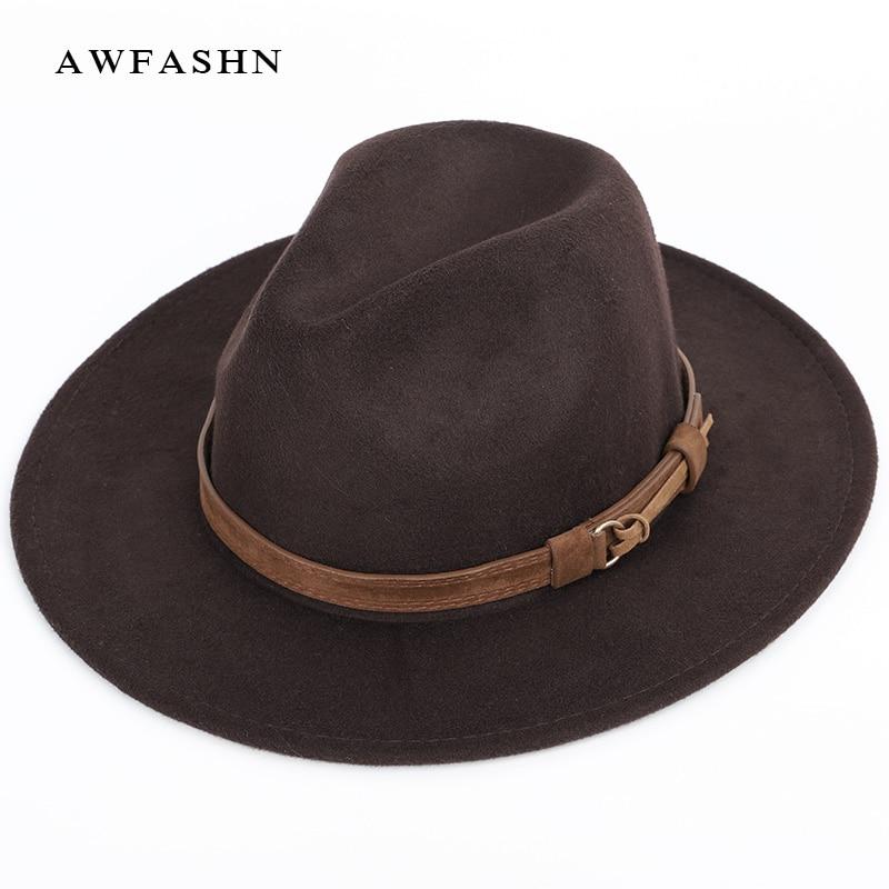 Otoño Invierno lana sombreros de ala de los hombres de las mujeres sombrero  de fieltro señoras sombrero jazz macho sombrero al aire libre de la vendimia  ... dc65fc95b35