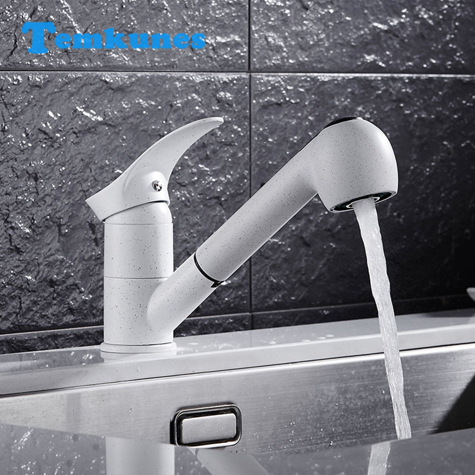 Temkunes White Kitchen Faucet European Style Pull Out Down Faucet Rotatable Kitchen Sink Cold Hot Bathroom