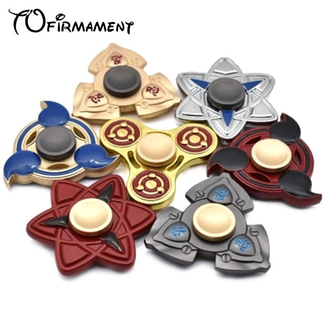 2017 Naruto Sharingan Shuriken Amine EDC Hand Spinner Kakashi Metal Naruto Weapon Animation Leaf Villiage Weapon Spynners Toy