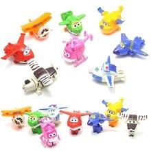 8pcs/set Super Wings Deformation Transformation Mini Airplane Robot Toys Model Plane Anime Cartoon Toys For Children #E