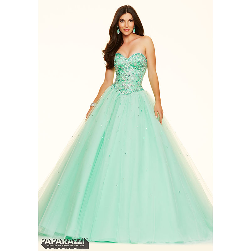 Mint Green Prom Dresses Ball Gown Corset 2017 Sweetheart Beaded ...