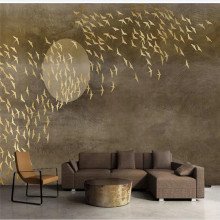 Custom wallpaper mural new Chinese style thousand birds TV sofa background wall - high-grade cloth