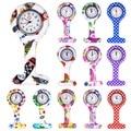 Relojes de enfermera médica de silicona coloridos de moda broche portátil reloj de cuarzo de bolsillo colgante con Clip de regalo 12 estilos