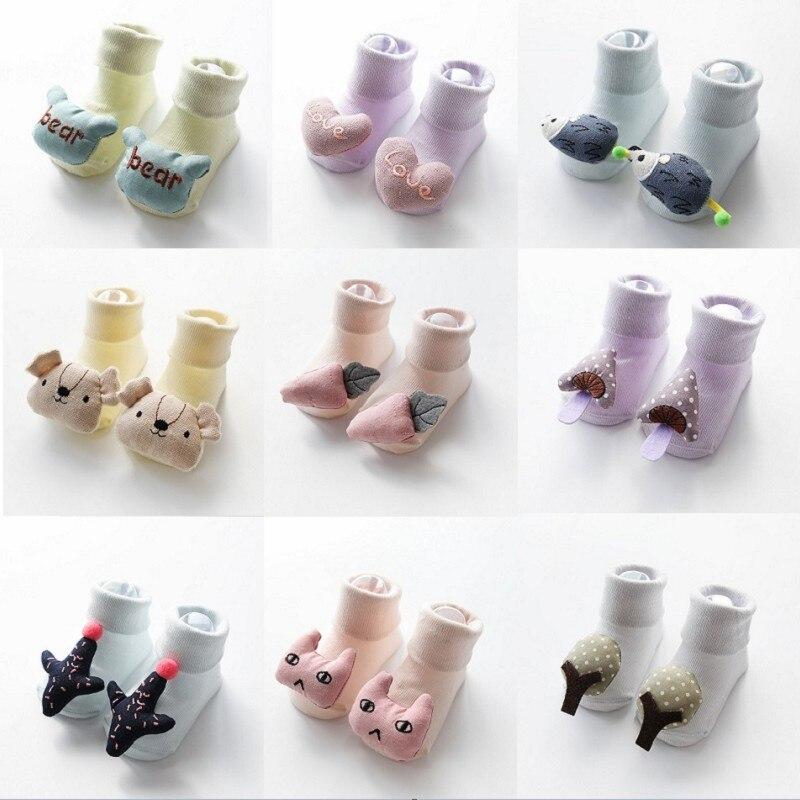 New Spring Summer Newborn Socks 100% Cotton Cute Cartoon Doll Baby Socks Children Candy Color Non-slip Floor Socks Baby Clothing