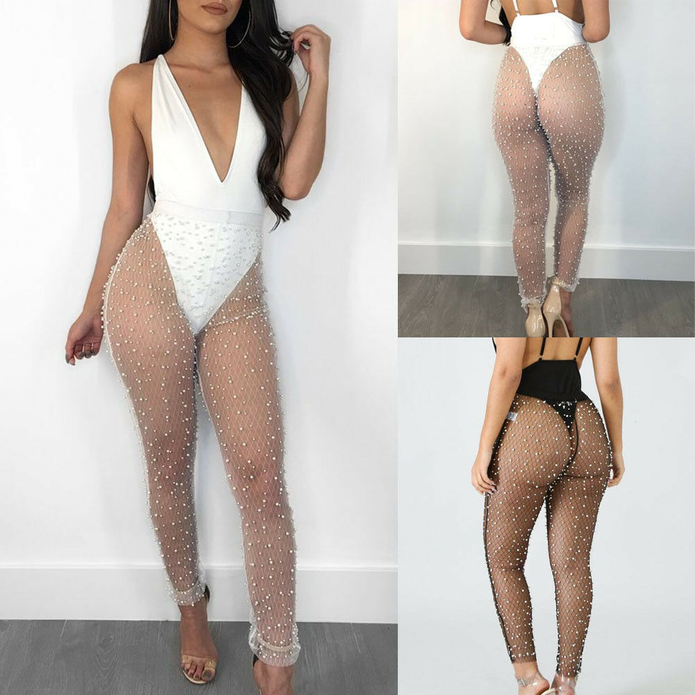 Women's Beach Mesh Sheer Swimwear High Waist Pearls Cover Up Transparent Long Pencil Pants Ladies See Through Trousers Bikini