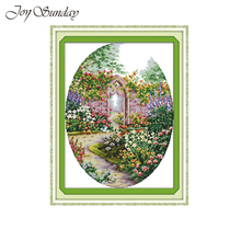 Joy Sunday garden Counted Cross Stitch Pattern Printed on Canvas 11CT 14CT DMC DIY Handwork Chinese Embroidery Needlework sets