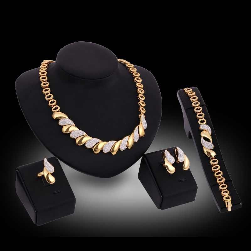 Presente do dia dos namorados chunky europeu jóias de ouro novo design áfrica jóias colar pulseira anel brincos 4 pçs conjunto de jóias