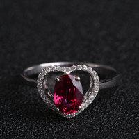Wholesale Robira Oval Ruby Anniversary Finger Ring 18K Gold Heart Shape Diamond Rings For Women Fashion