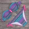 2017 Bikini Womens Halter Brazilian Push Up Swimwear Bikini Tribal Bandeau Floral Diamonds Stripe Bathing Suit