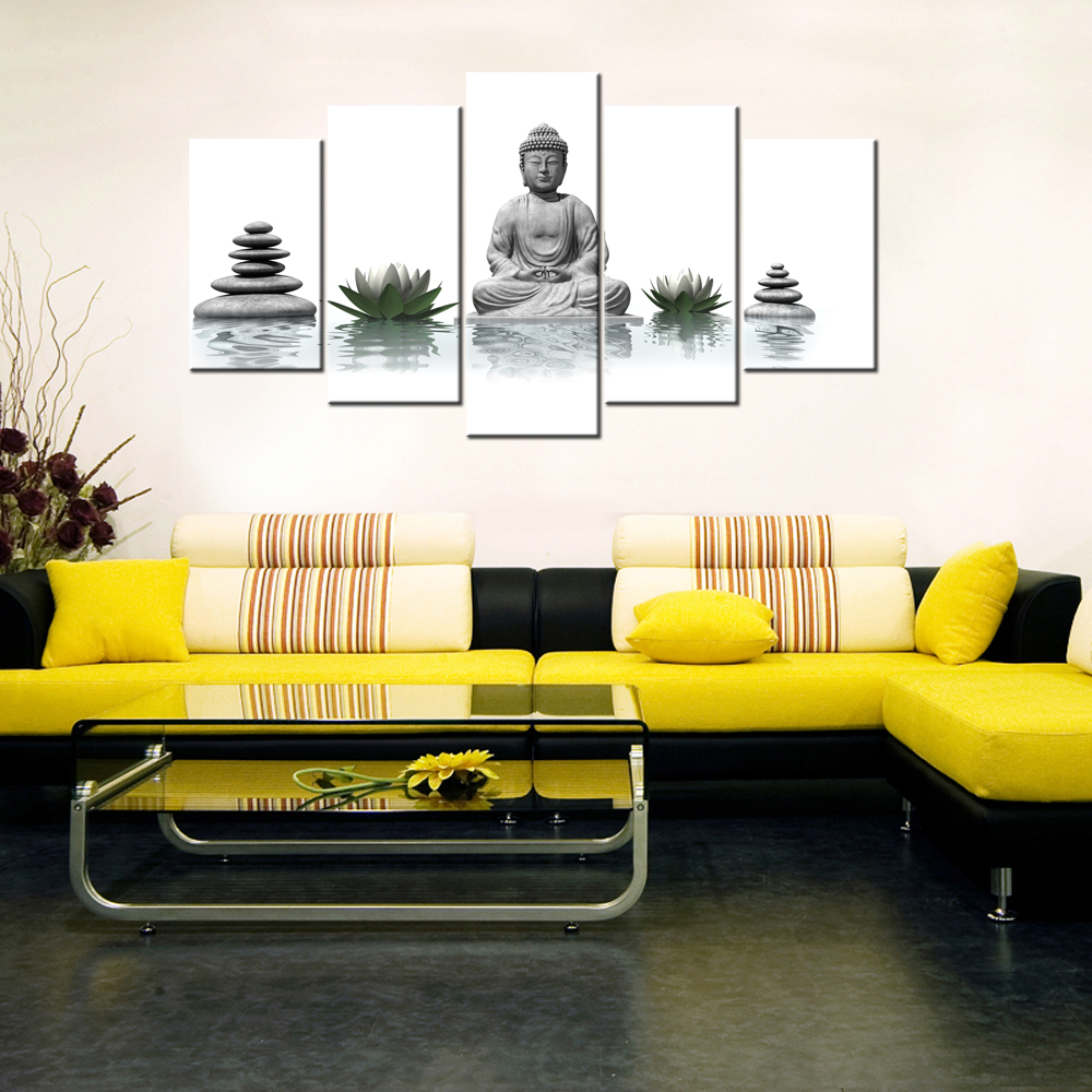 5 Piece Canvas Wall Art Buddha With Stone Zen White Lotus Wall ...
