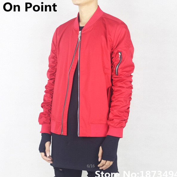 USA size mens desiger clothes cool shirring sleeve red bomber ...