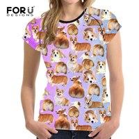 FORUDESIGNS Purple Women Tshirt Cute Printing Puppy Pug Short Sleeve for Ladies Fashionable Summer Tops Tee Female T shirts
