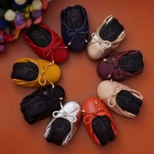 Flat Leather Leather Cowhide Egg Roll Shoes Large Size 43 Soft Bottom Mama Shoes Bow Round Head Dance
