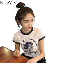 NiceMix New Summer Harajuku Tshirt Women Kawaii GIRL GANG T Shirt Cotton Crop Tops Tee Mesh Top Vetement Femme 2019