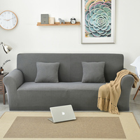 Stretch Sectional Sofa Cover Fabric Solid Color Single Two Three Four Seats Soft Slipcovers Elastic Couch