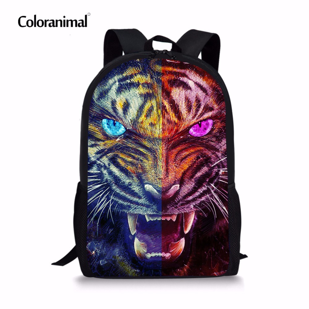 Coloranimal Men Back Pack 3D Cool Animal Pattern Student Large Schoolbags Children Tiger Backpack Mochilas Bagpack Bookbag Kids