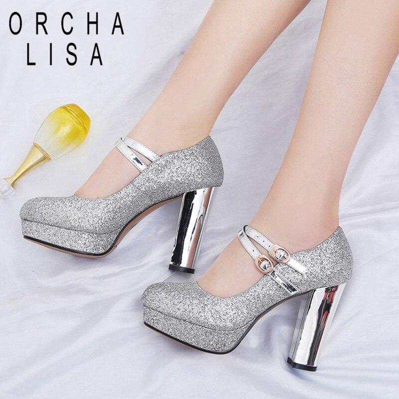 Chunky Wedding Heels: ORCHA LISA Women Platform Chunky High Heel Pumps Bling