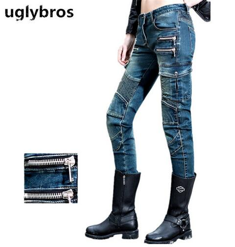 Newest Fashion straight blue jeans size 25 26 27 uglybros MOTORPOOL UBS11 jeans motorcycle protection pants women moto pants