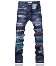 Мода новинка Градиент печати джинсы новый тощий карандаш брюки