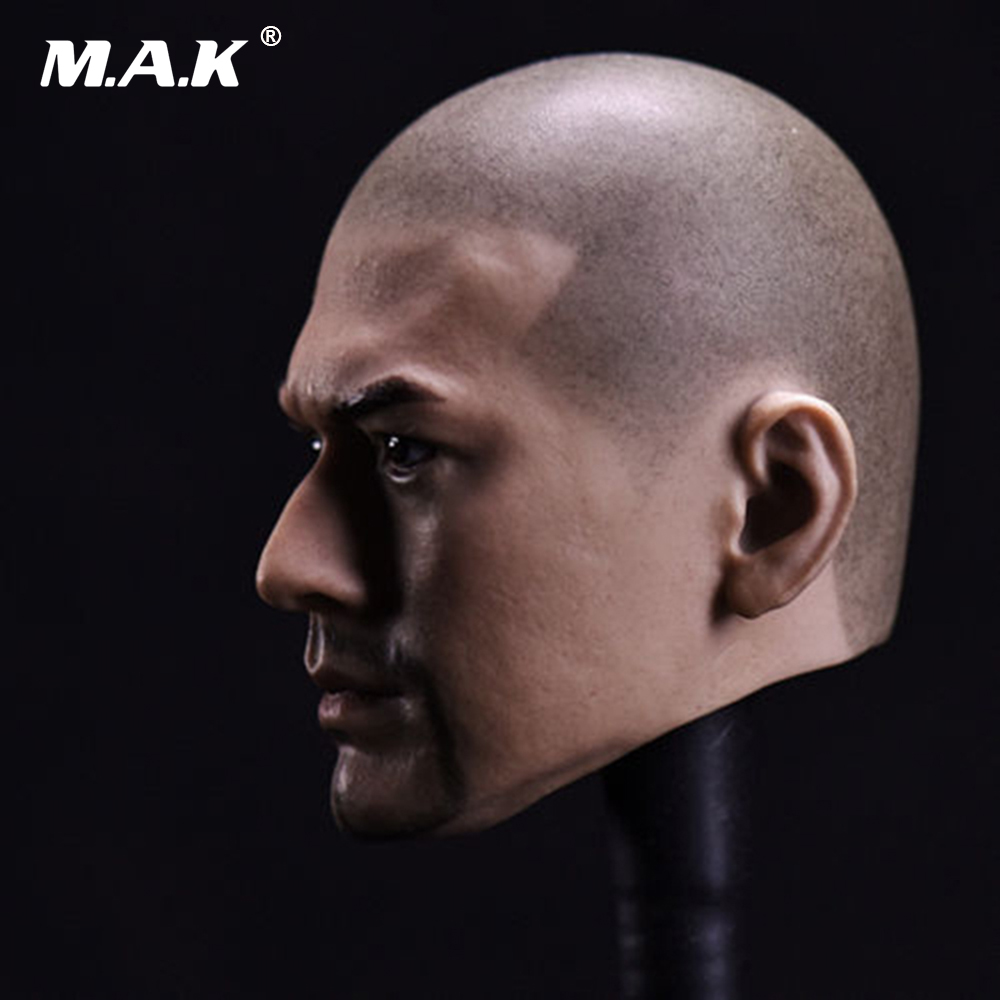 Asura Calvous Buddhist Head Model 1//6 Scale PVC Unbearded Male Head Carving
