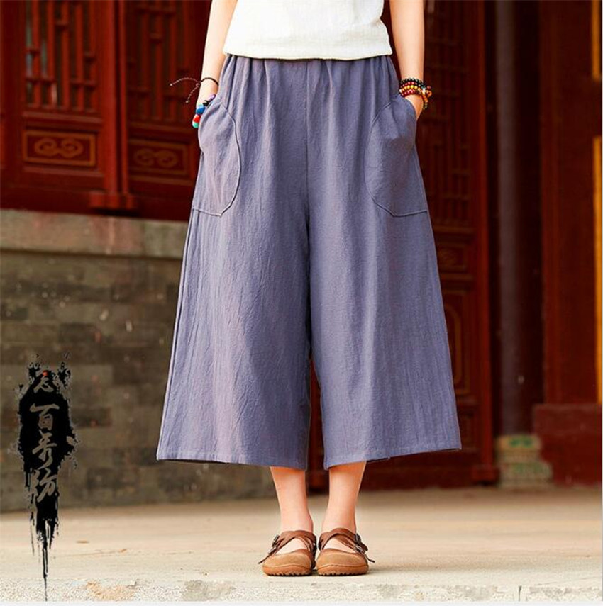 MLCRIYG 2018 Summer Linen Retro women's home leisure travel seven points   wide     leg     pants