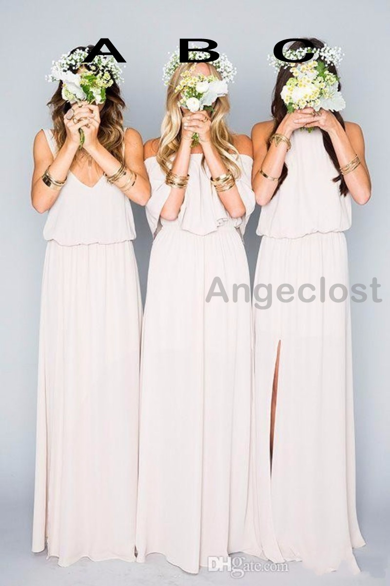 Aliexpress buy 2017 new arrival summer beach bohemian aliexpress buy 2017 new arrival summer beach bohemian bridesmaids dresses mixed style chiffon side split boho formal wedding party cheap from reliable ombrellifo Choice Image