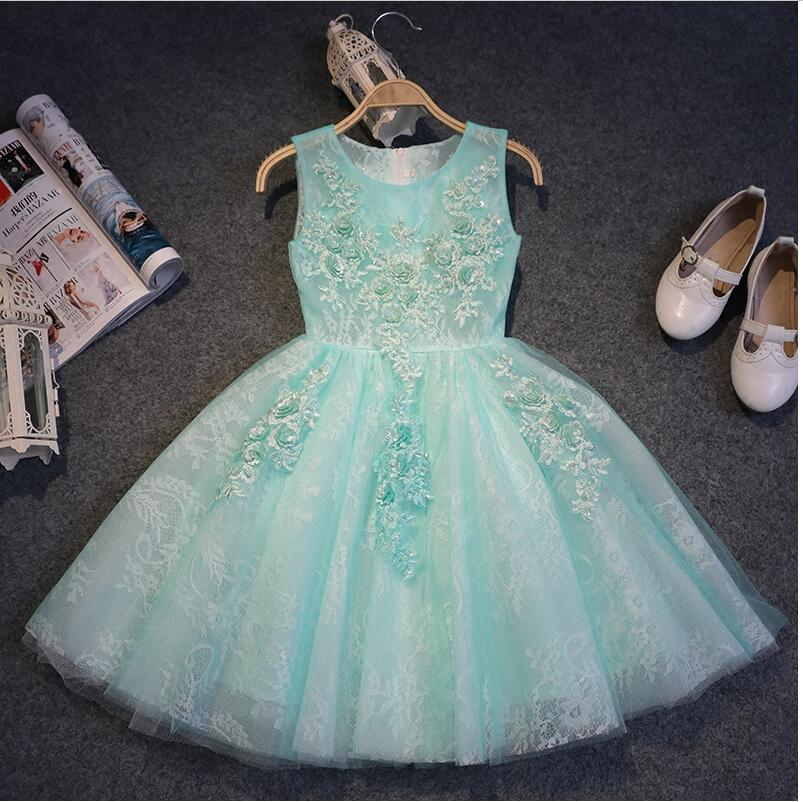 Girls dresses for party and wedding light green little girls gown kids flower appliques lace mesh